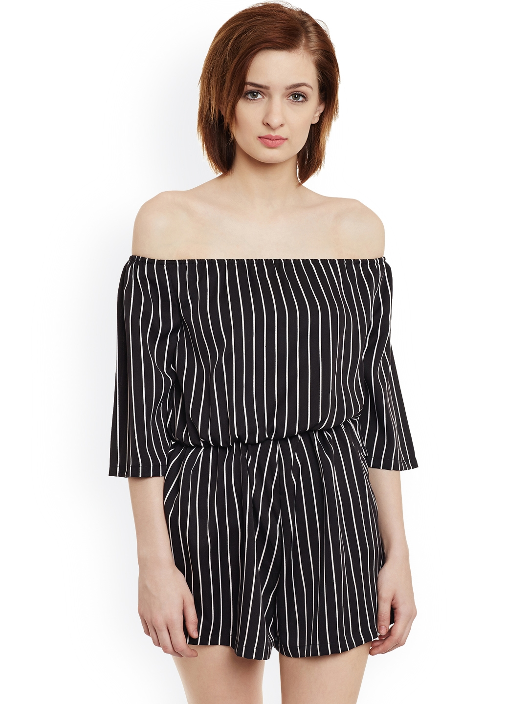 8987cc511aae Buy THE SILHOUETTE STORE Black   White Striped Off Shoulder Playsuit ...