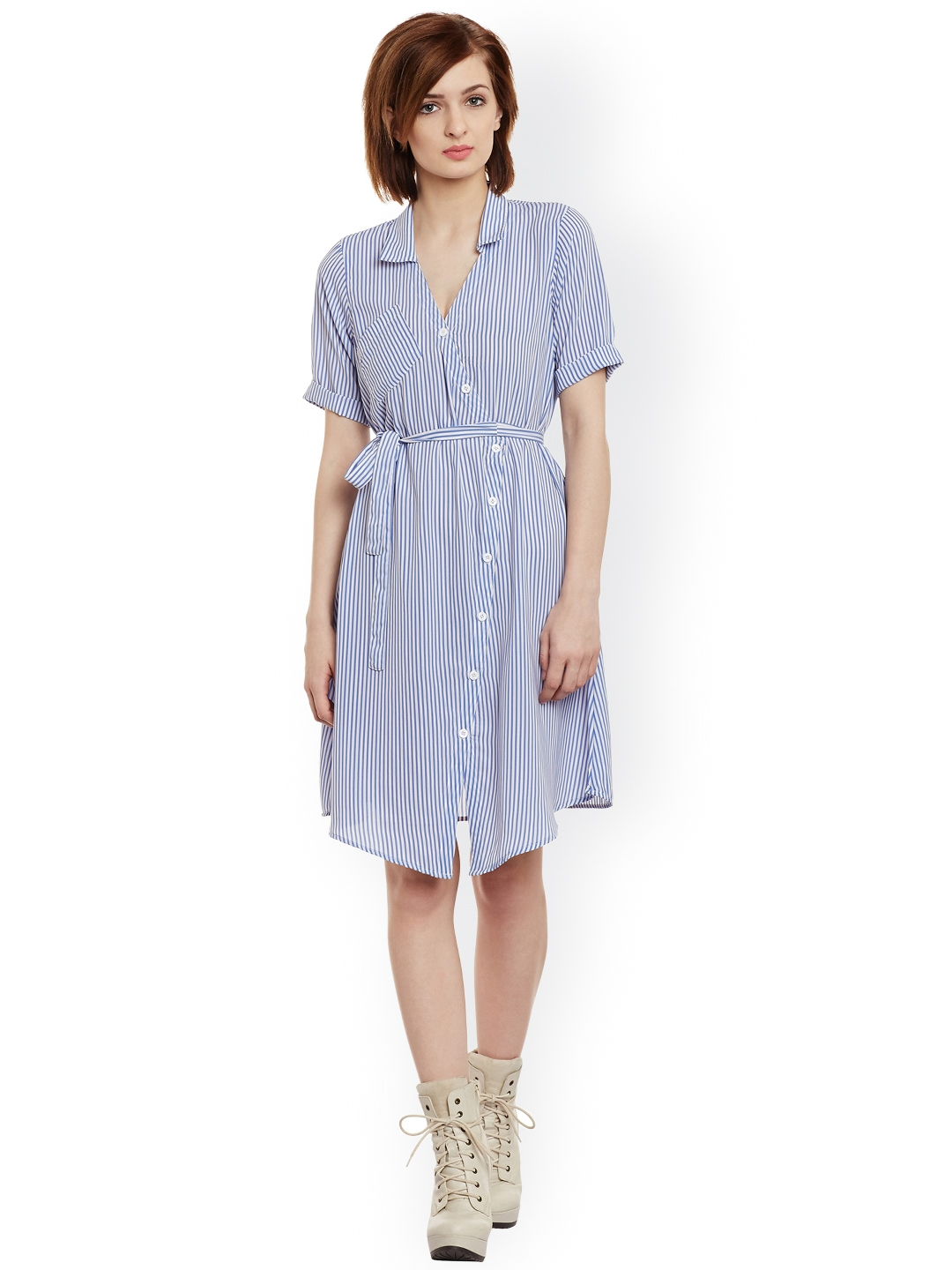 d8a5104ca0be Buy THE SILHOUETTE STORE Women Blue   White Striped Shirt Dress ...