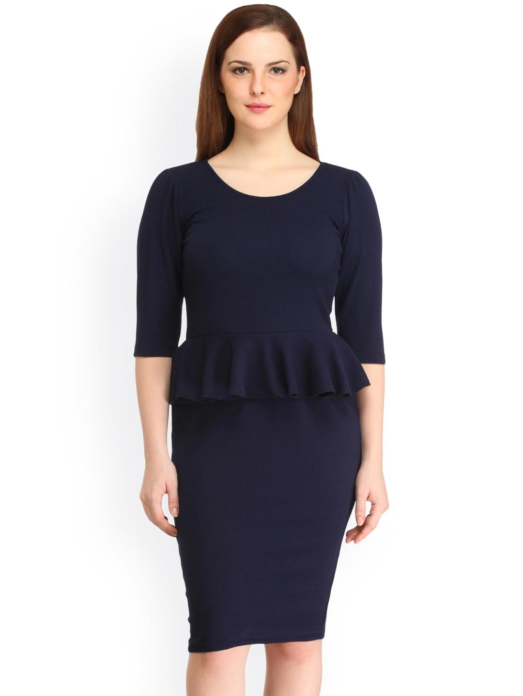 b557ad54d8 Buy Cottinfab Women Navy Peplum Dress - Dresses for Women 1919662 ...