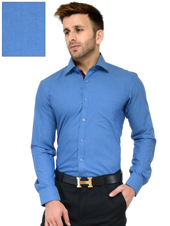cb440c3eabd5 Buy RG DESIGNERS Men Blue Slim Fit Solid Formal Shirt - Shirts for ...