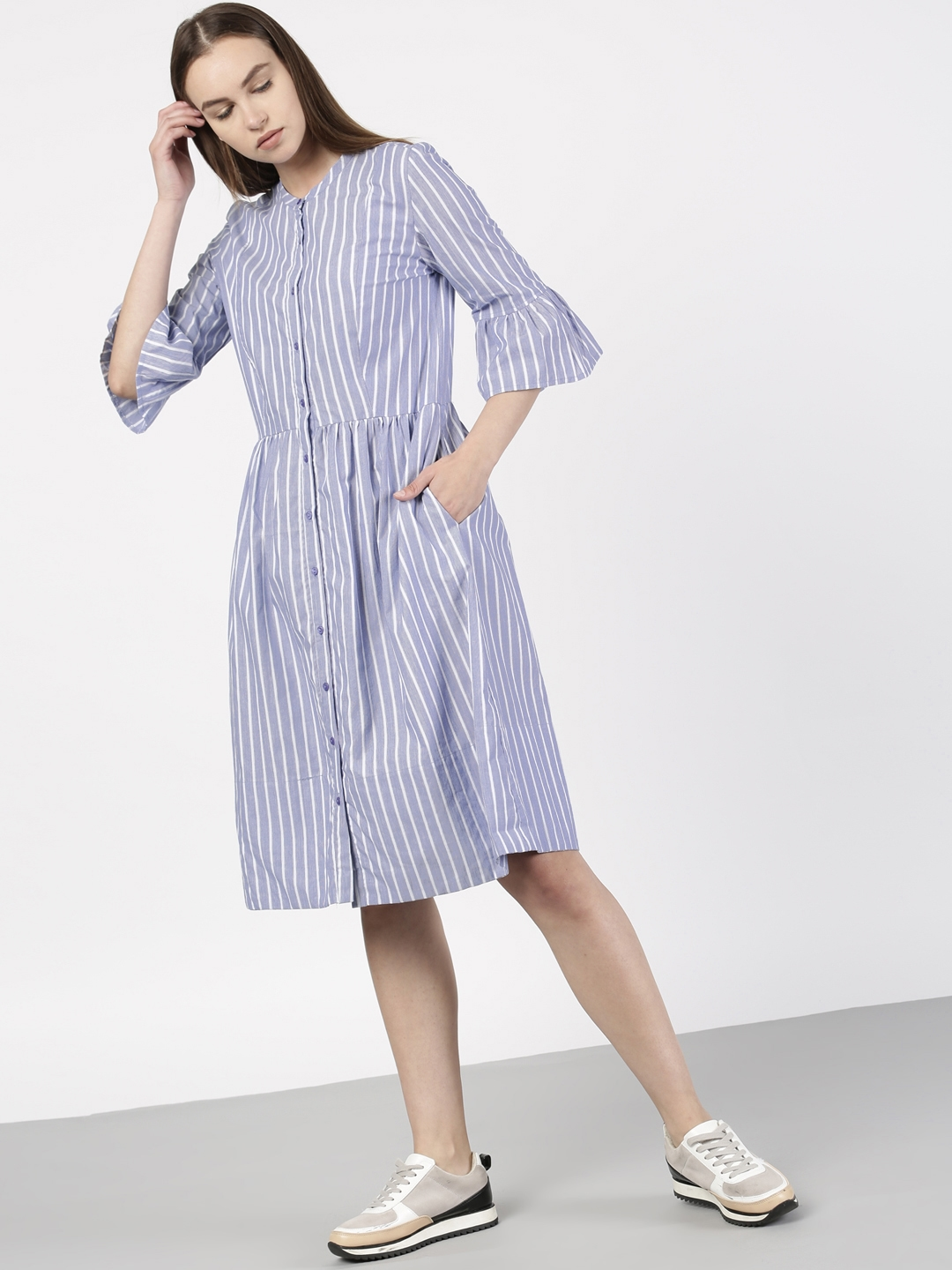 3051ff3425ceb Buy Ether Women Blue Striped Shirt Dress - Dresses for Women 1929021 ...