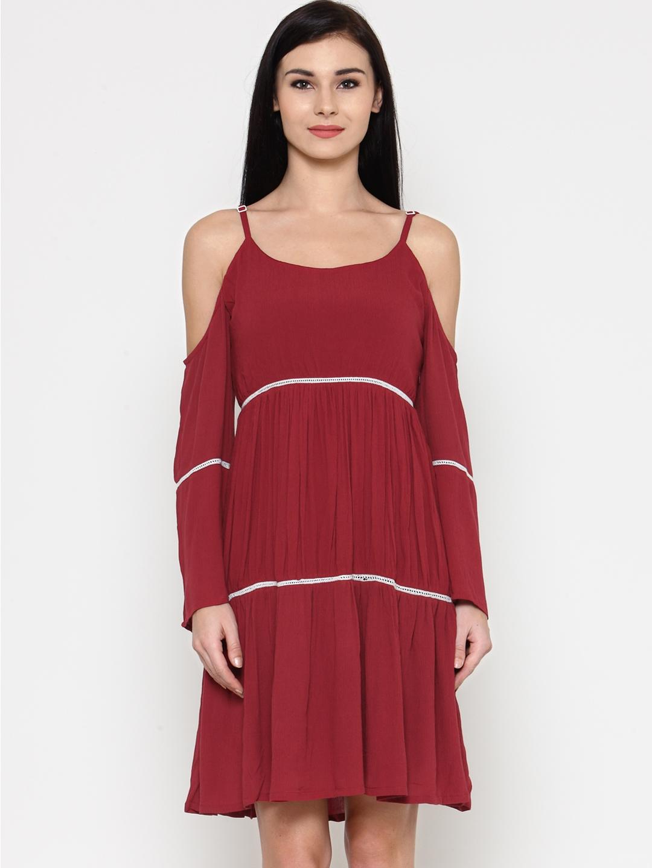 ce4df8d4c56c Buy Calgari Women Maroon Solid A Line Dress - Dresses for Women ...