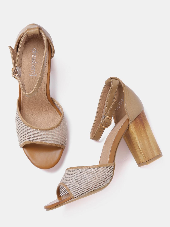 57d902add540 Buy DressBerry Women Brown Patterned Block Heels - Heels for Women ...