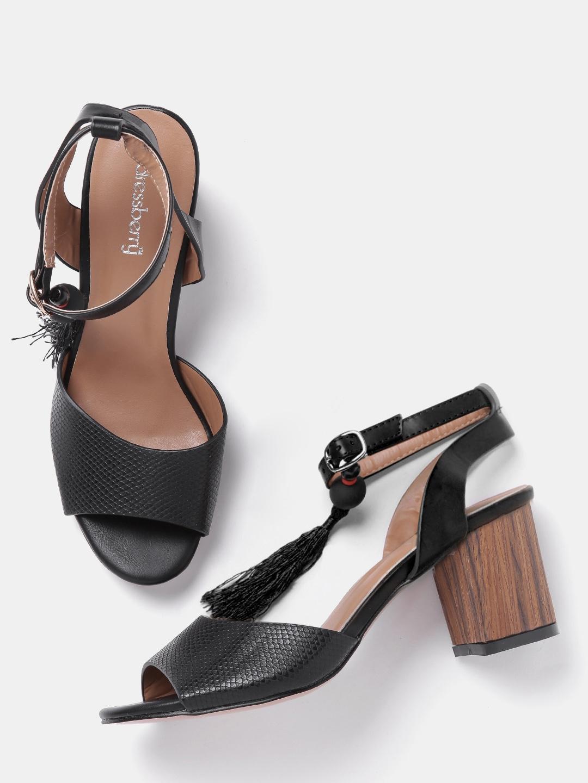 5fa22776110d Buy DressBerry Women Black Snakeskin Textured Block Heels - Heels ...