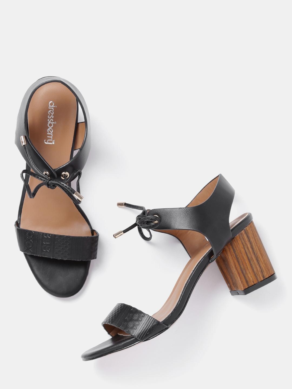bcded8ebff1 Buy DressBerry Women Black Textured Block Heels - Heels for Women ...