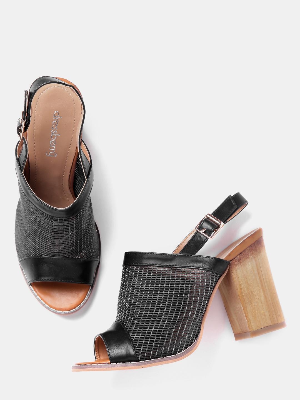 2feef060e6ea Buy DressBerry Women Black Patterned Block Heels - Heels for Women ...