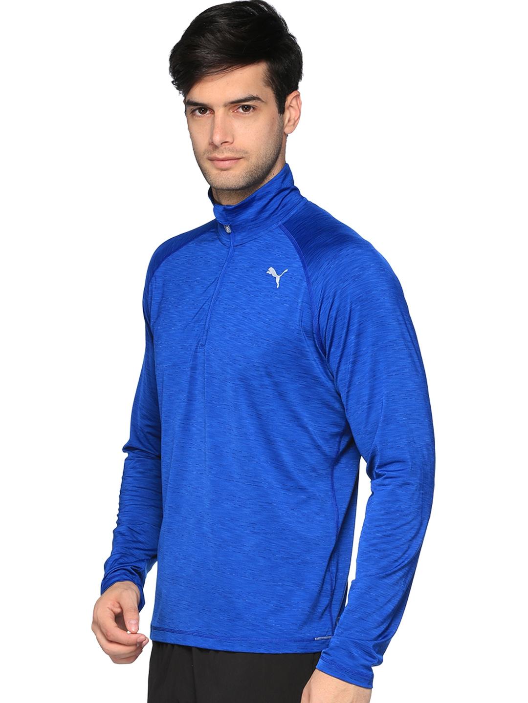 df00e8006471 Buy Puma Men Blue Core Run LS HZ Solid Mock Collar T Shirt - Tshirts ...