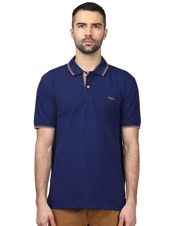 0a50d21c Buy ColorPlus Men Navy Blue Solid Slim Fit Polo Collar T Shirt ...