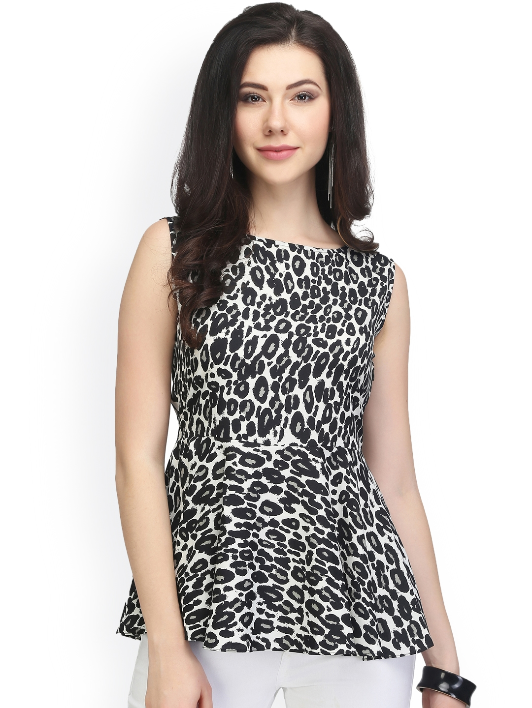 9ae30bf002e84 Buy Eavan Women Black   White Animal Print Peplum Top - Tops for Women  1937471