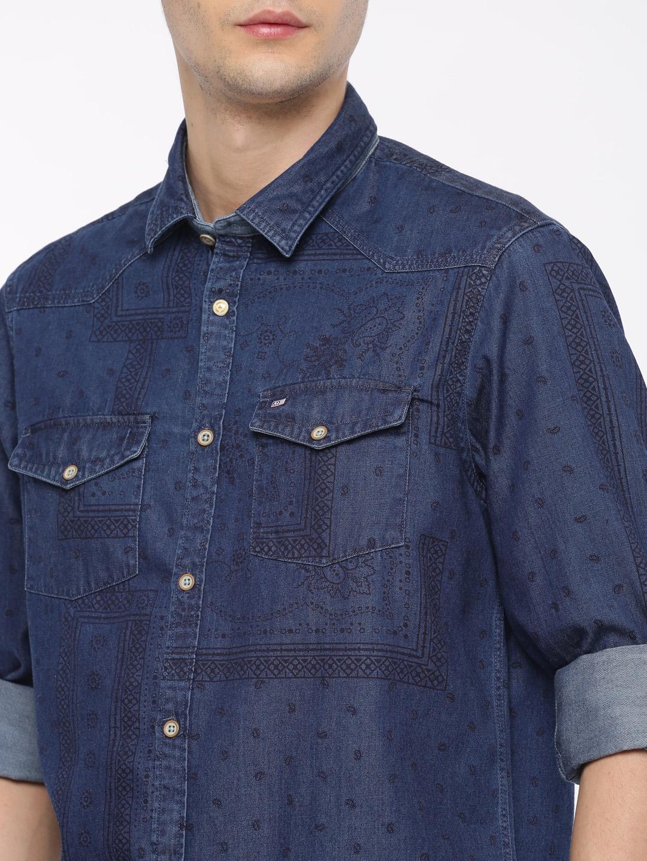70862488002 Buy Arrow Sport Men Blue Slim Fit Printed Denim Shirt - Shirts for ...