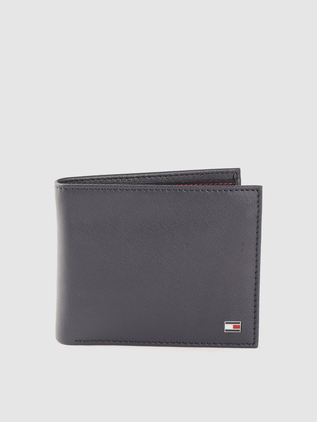 Tommy Hilfiger Men Navy Blue Solid Leather Two Fold Wallet
