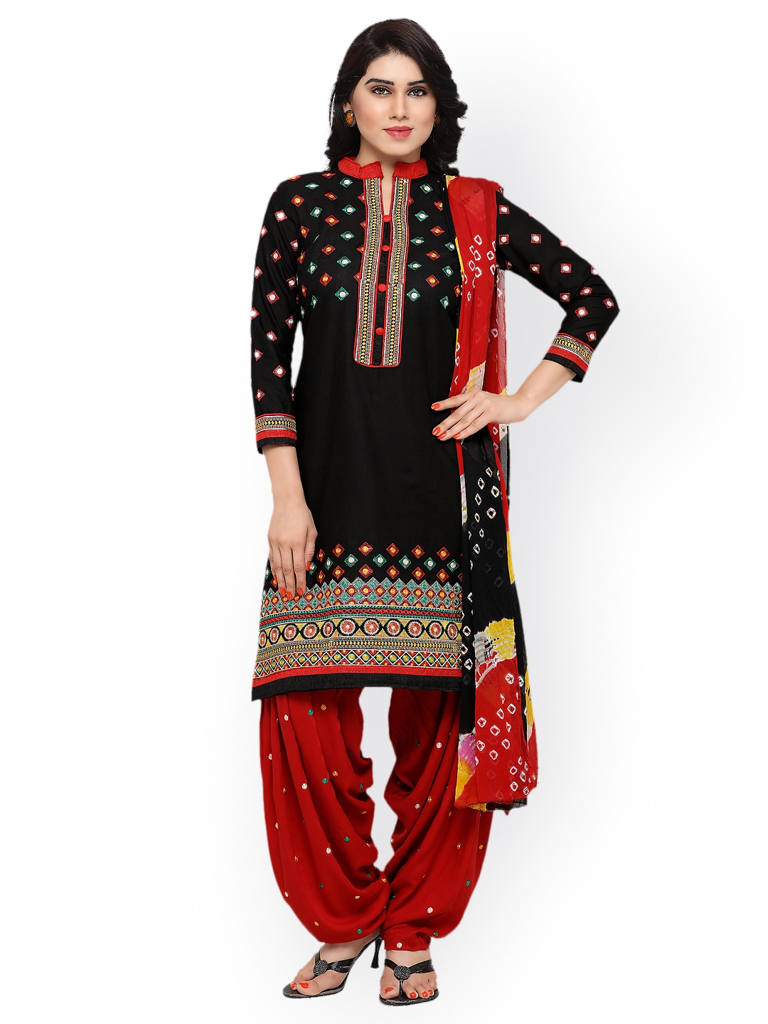 90c0e7ad9a48 Kvsfab Black & Red Pure Cotton Embroidered Unstitched Dress Material