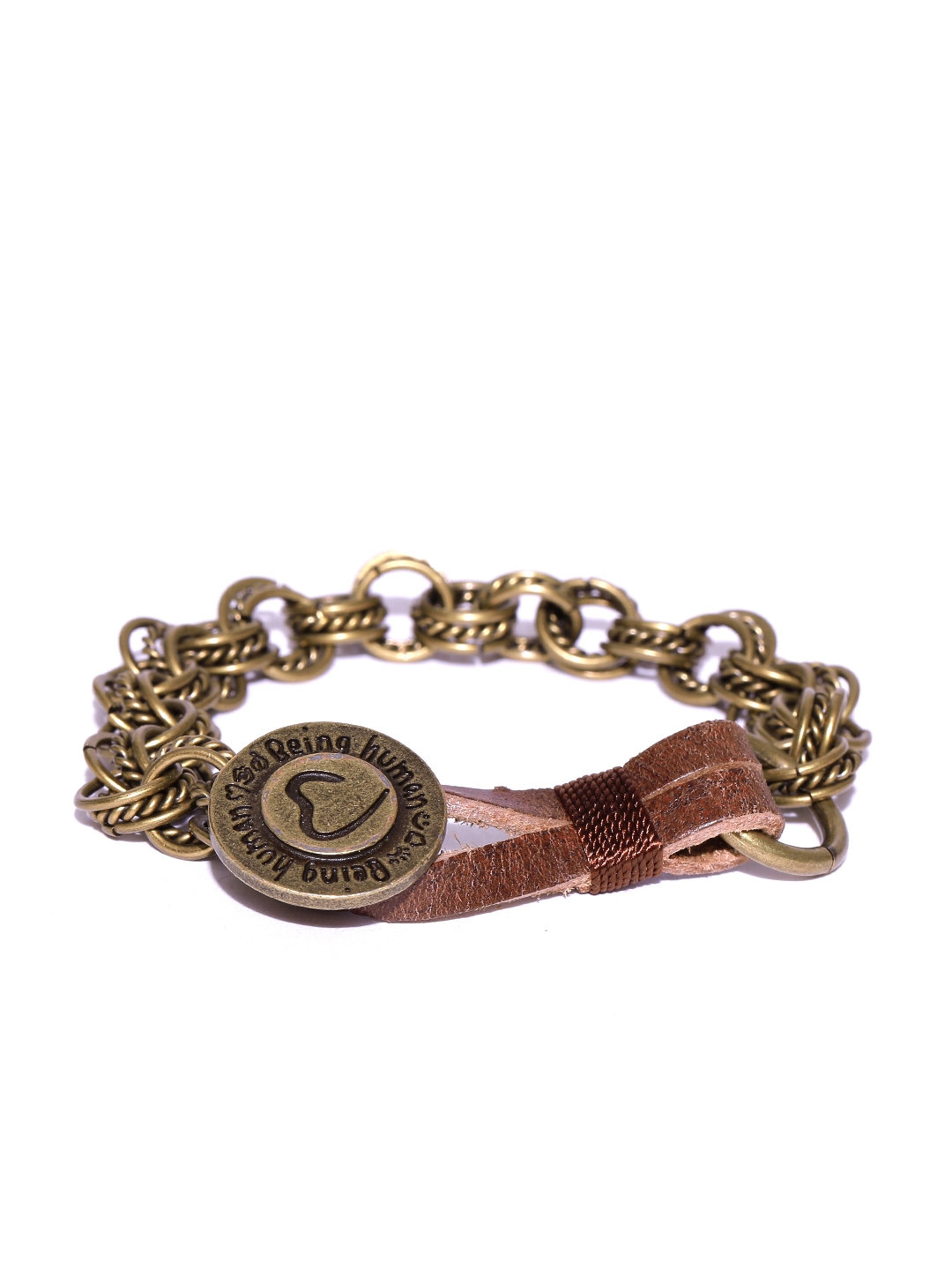 Being Human Jewellery Men Antique Gold Toned Textured Leather Bracelet