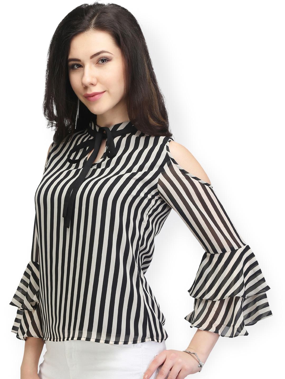 842ce8a1d7cae Buy Eavan Women Black   White Striped Top - Tops for Women 1942405 ...