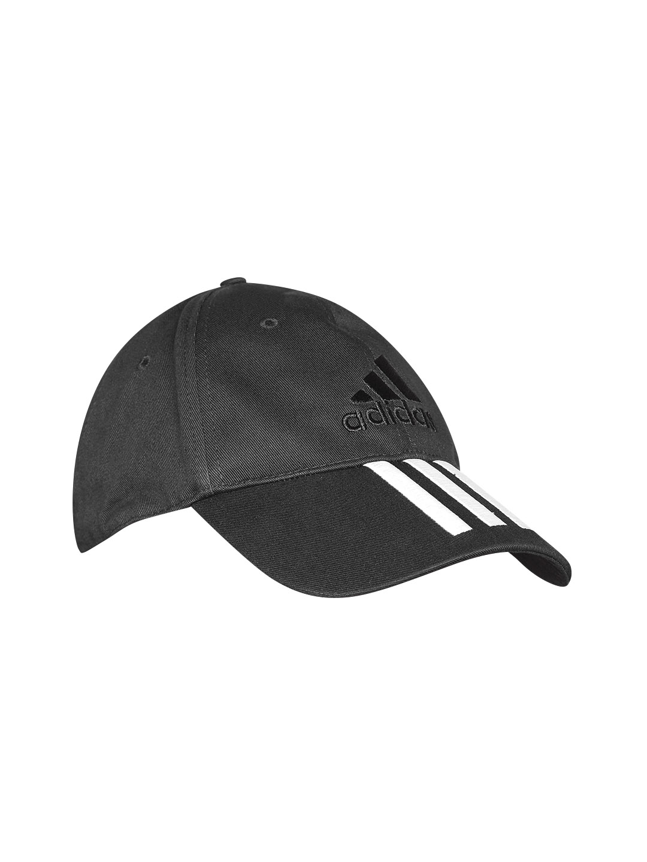 Buy ADIDAS Unisex Black 6 Panel 3 Stripes Cotton Cap - Caps for ... 0ca43b62e31d