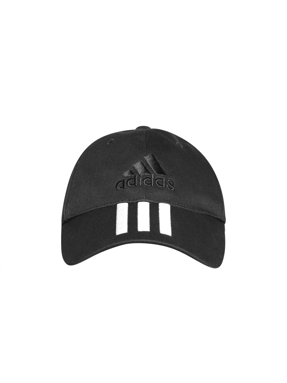 Buy ADIDAS Unisex Black 6 Panel 3 Stripes Cotton Cap - Caps for ... f6b5088a3e
