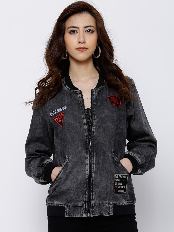 5a7dcd9f857 Buy Tokyo Talkies Women Charcoal Grey Solid Denim Jacket - Jackets ...