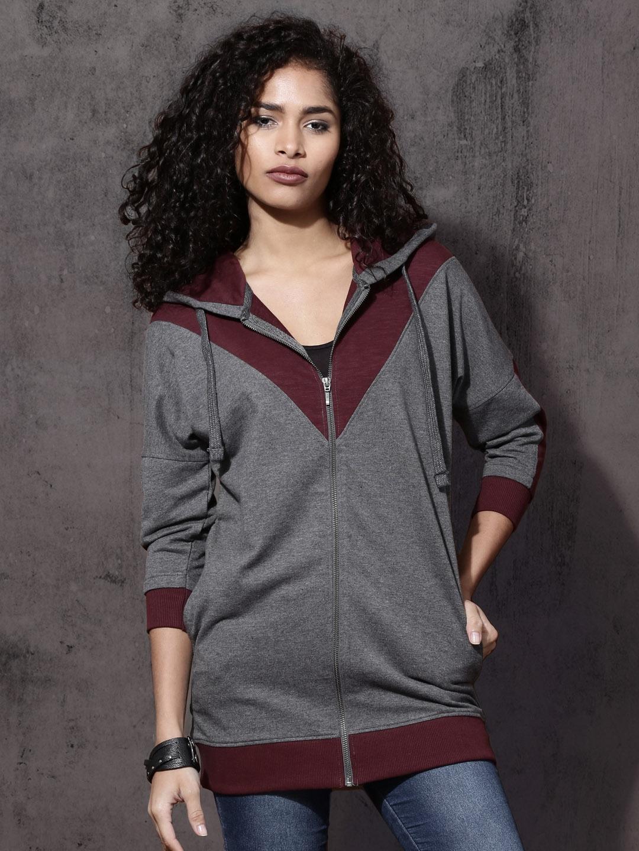 Buy Roadster Women Grey Melange   Burgundy Colourblocked Hooded ... 3f88d484e