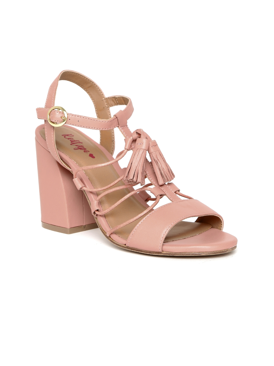 403ecb887d9f Buy Red Tape Women Dusty Pink Solid Leather Sandals - Heels for ...