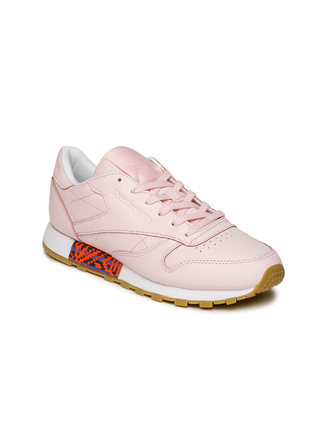 Buy Reebok Classic Women Pink OLD MEETS NEW Leather Sneakers ... 64dd70106a