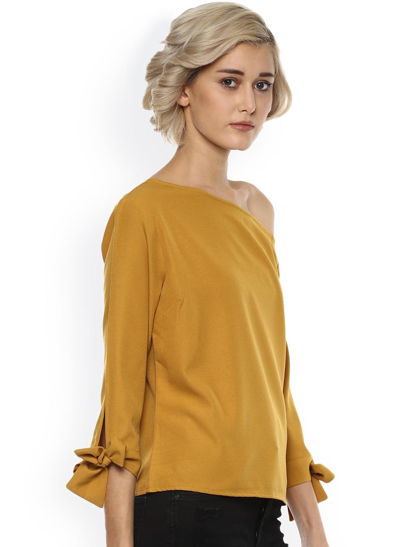18b36d1d80ac60 Buy Harpa Women Mustard Yellow Solid Off Shoulder Top - Tops for ...