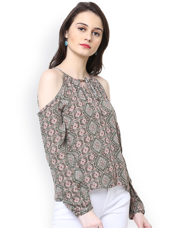 005dc0c7431790 Buy Harpa Women Olive Green Printed Cold Shoulder Top - Tops for ...