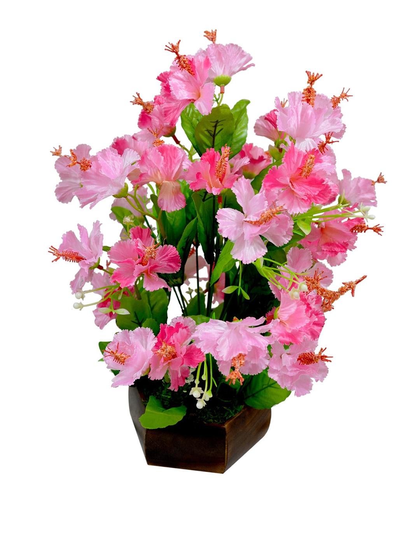 Buy Fancy Mart Pink Artificial Hibiscus Flowers With Wooden Pot