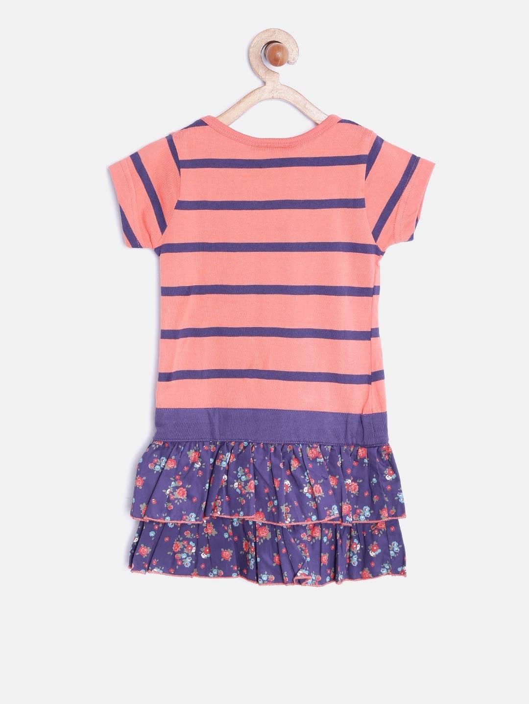 Buy 612 Ivy League Girls Coral Pink Purple Striped Drop Waist