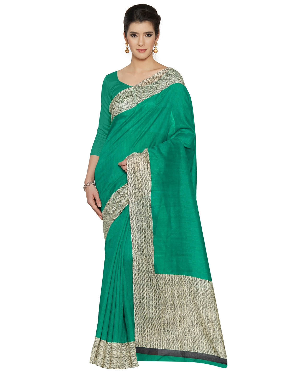 b3338eaadda7d Buy Mirchi Fashion Green Art Silk Solid Bhagalpuri Saree - Sarees ...