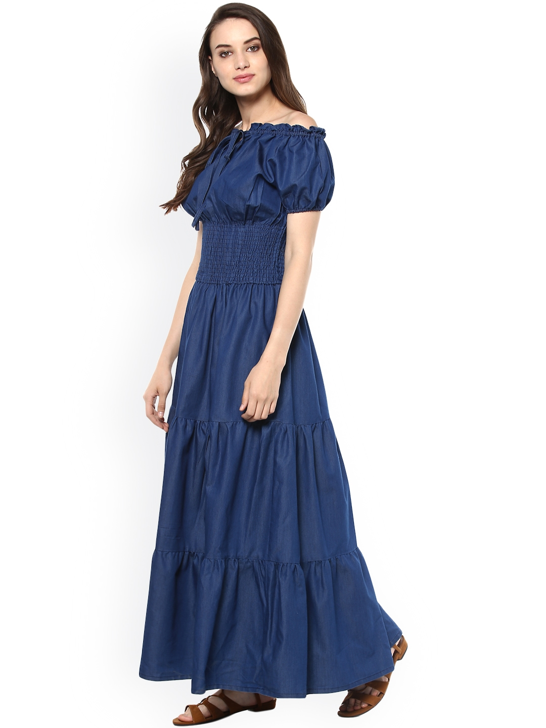 3255e4ed63c Buy stylestone women blue denim maxi dress dresses for women jpg 1080x1440 Maxi  dress denim blue