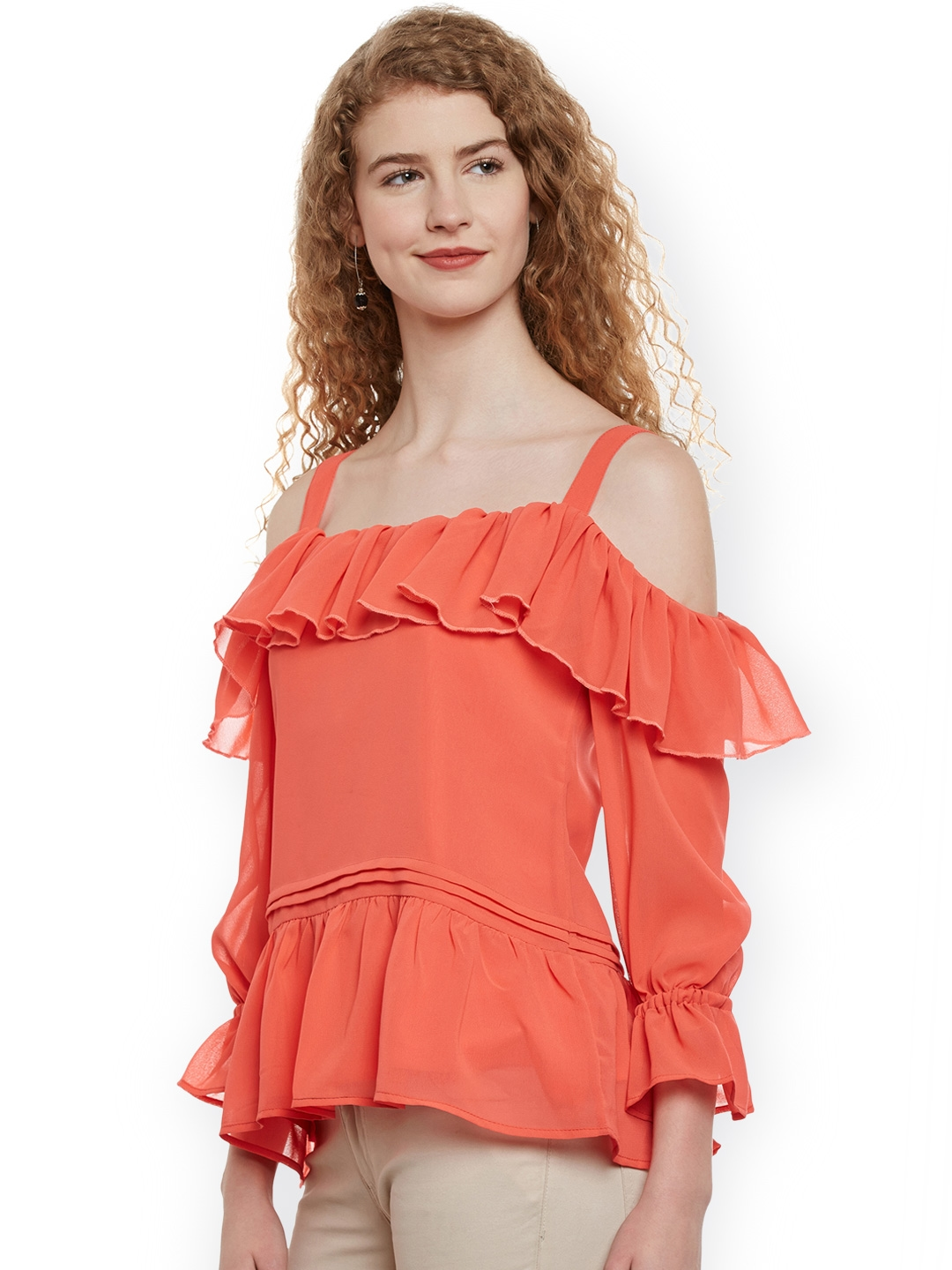 8e0a8281d85d7 Buy Belle Fille Women Orange Solid Ruffled Cold Shoulder Top - Tops ...