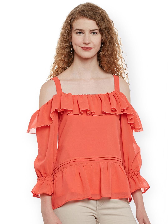 f24f88721710cc Buy Belle Fille Women Orange Solid Ruffled Cold Shoulder Top - Tops ...
