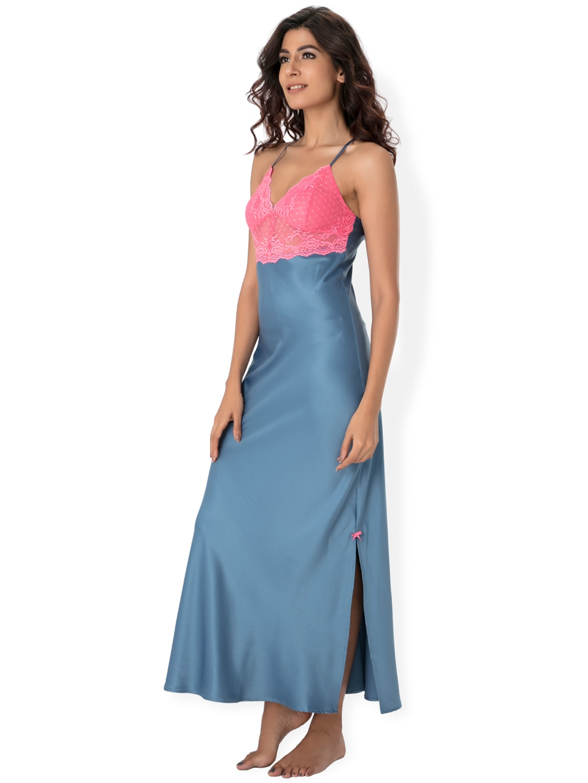 3b67c51eb5 Buy PrettySecrets Blue & Pink Lace Detail Maxi Nightdress NW0031 ...