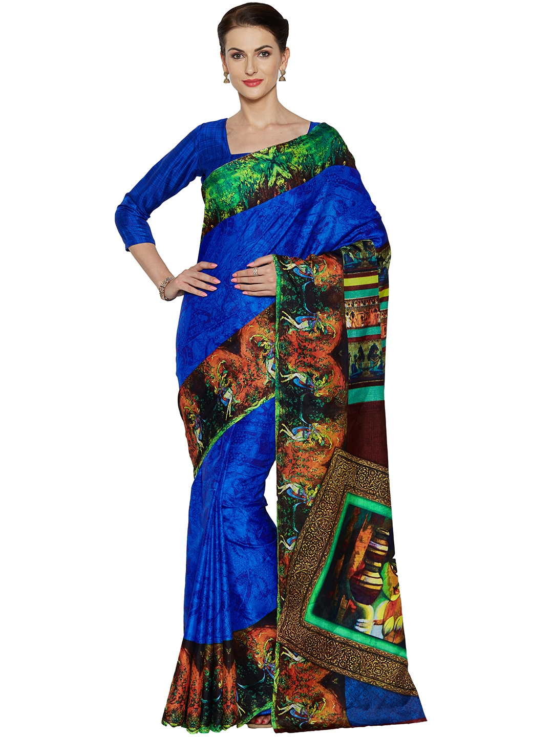 cffd44723a477 Buy Mirchi Fashion Blue Art Silk Printed Saree - Sarees for Women ...