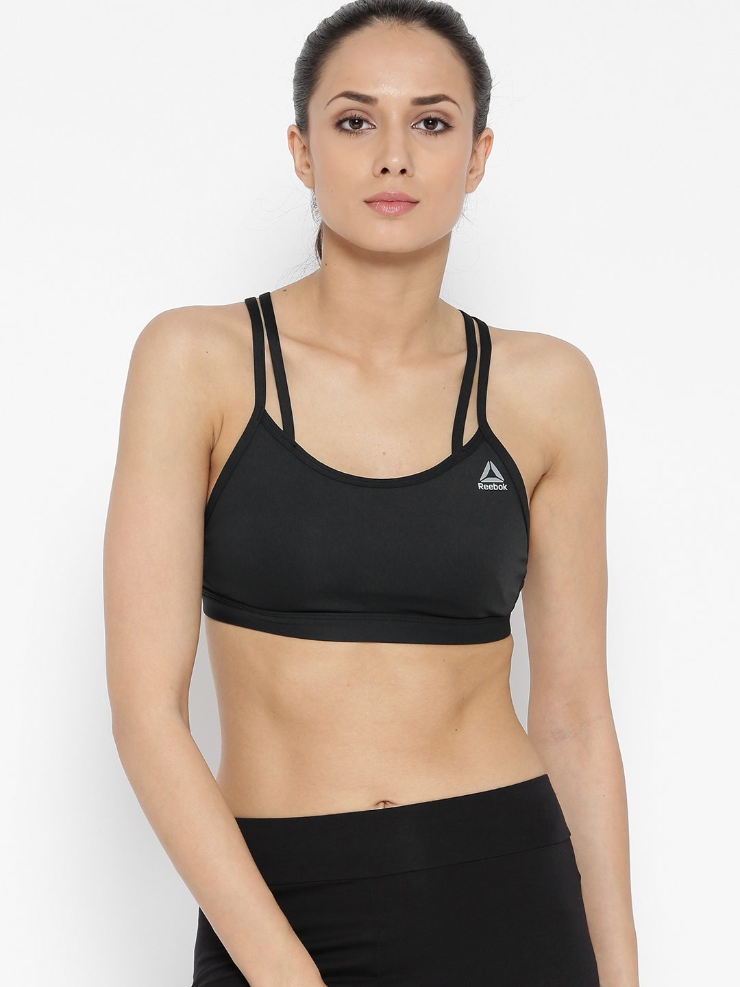 1d5b13d467 Buy Reebok Black Hero Strappy Solid Non Wired Non Padded Sports Bra ...