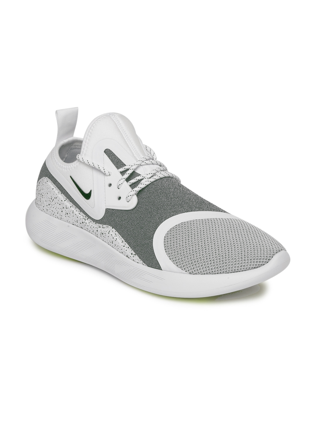 1b09d7af5d46 Nike Men White   Grey Printed Canvas LUNARCHARGE ESSENTIAL Mid-Top Sneakers