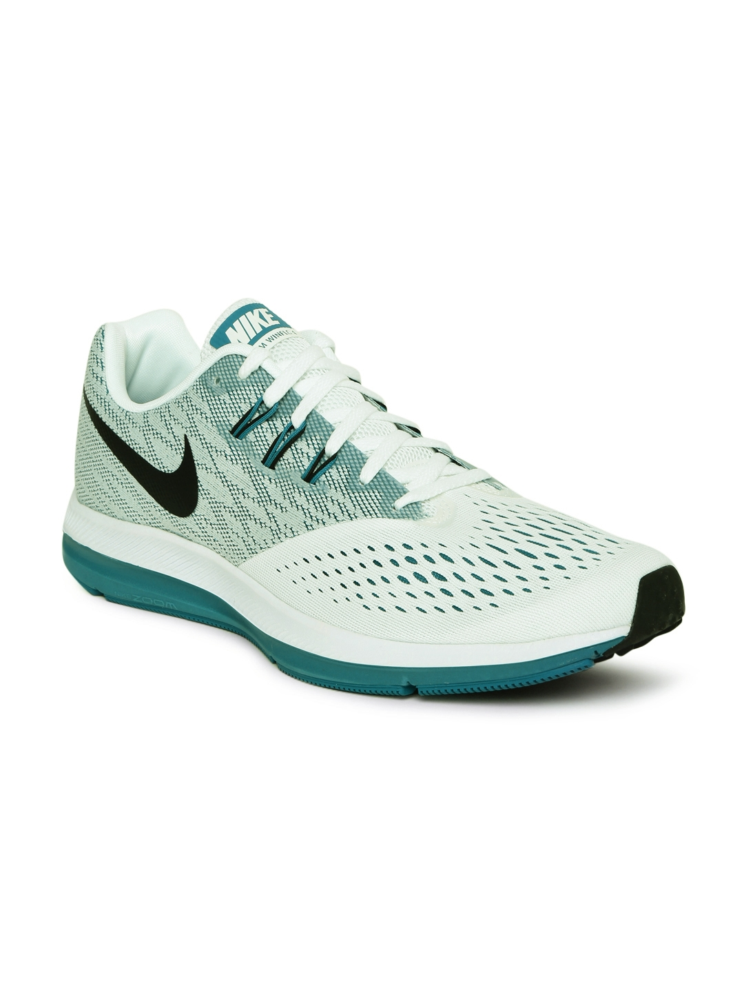 the latest e4d3d 1d3a7 Nike Men White   Teal Blue ZOOM WINFLO 4 Running Shoes