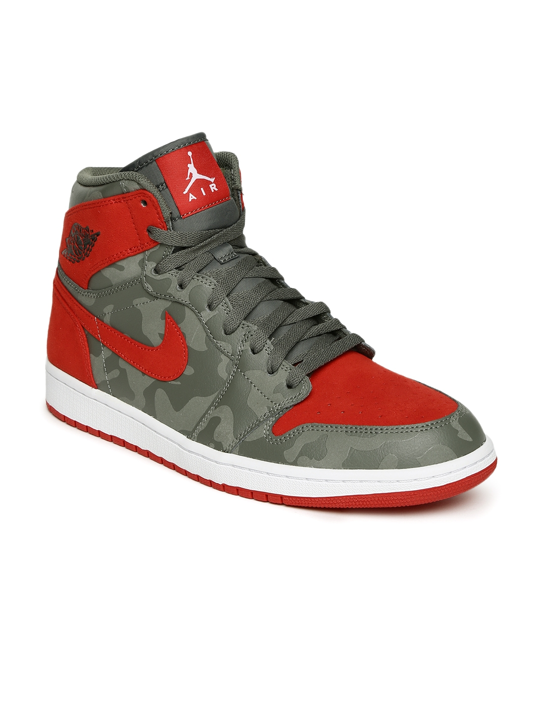 768649db12d1 Buy Nike Men Grey Leather High Top AIR JORDAN 1 RETRO Basketball ...