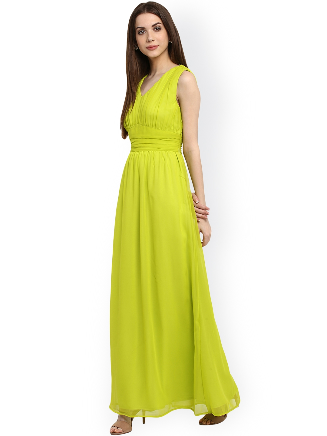 bf293310e3 Buy La Zoire Women Lime Green Solid Maxi Dress - Dresses for Women ...