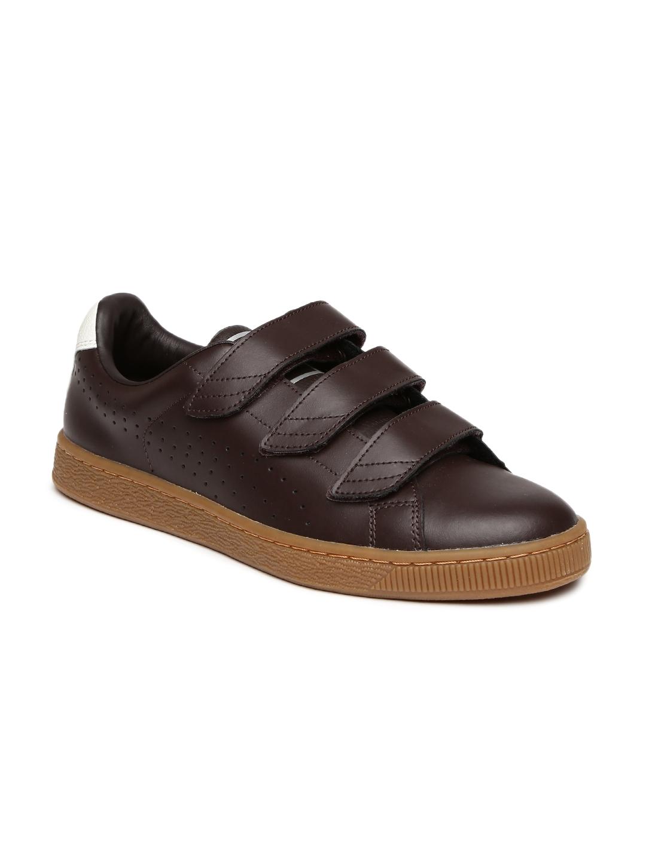 5f53ca7d23a4 Buy Puma Men Coffee Brown Basket Classic Strap CITI Leather Sneakers ...
