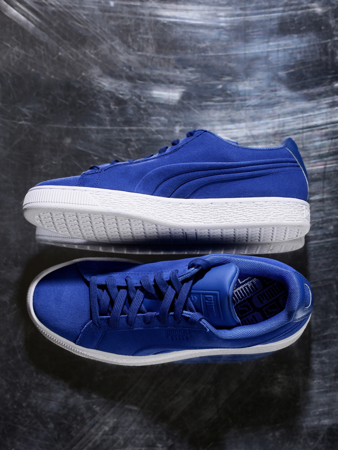 quality design 76097 532dc Buy PUMA Men Blue Solid Regular Suede Classic Embossed ...