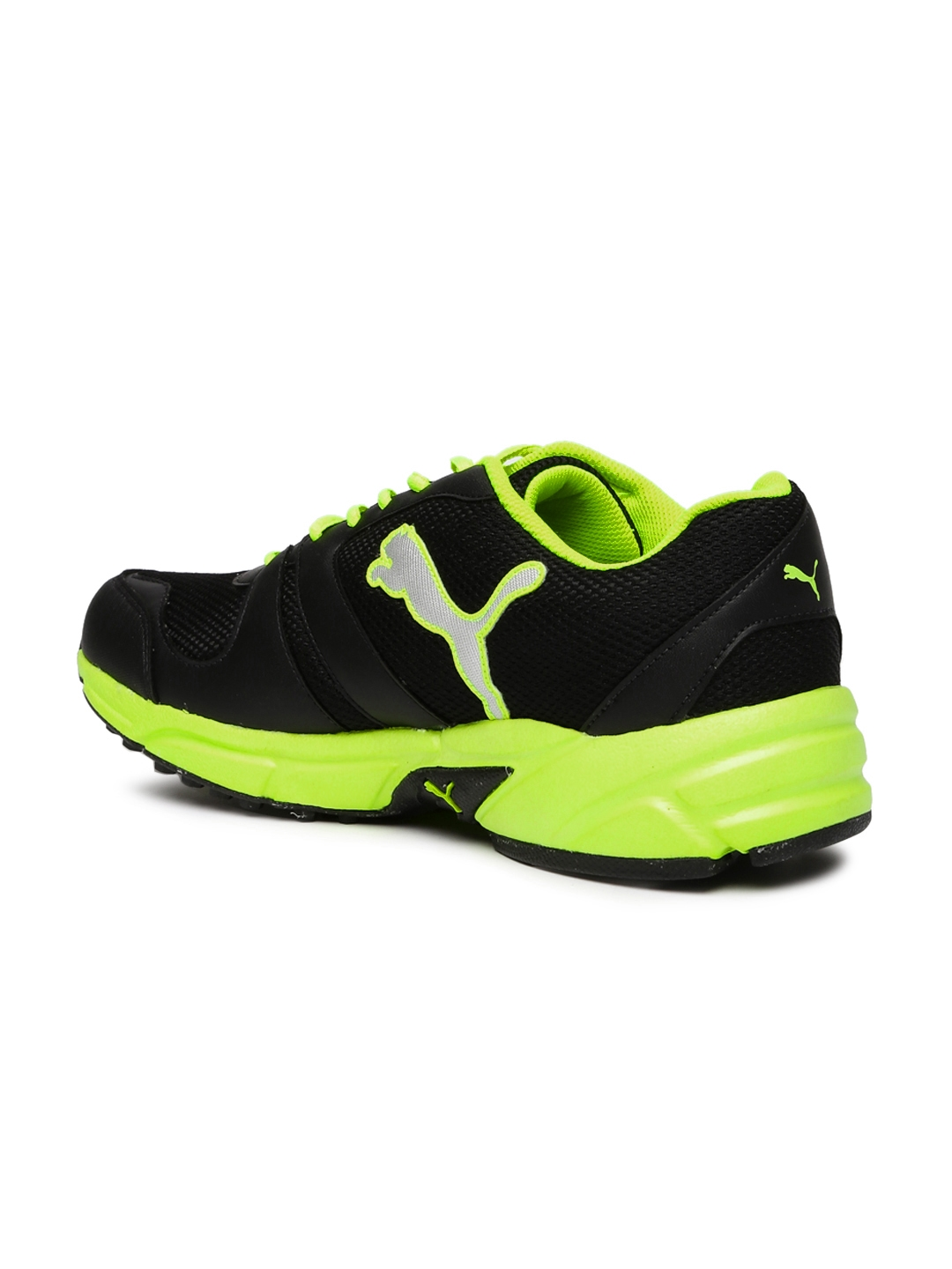 51663e6b2910 Buy Puma Men Black   Fluorescent Green Strike Fashion Running Shoes ...