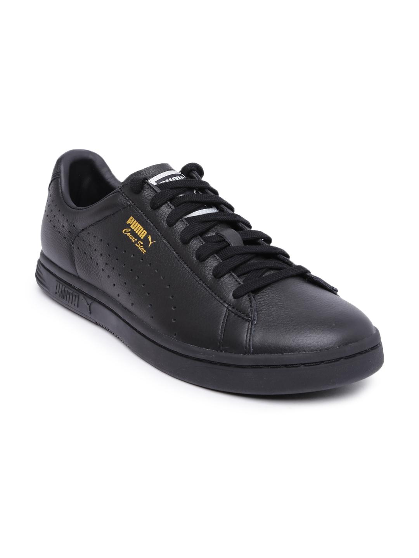 reputable site 13618 57d1e Puma Men Black Leather Court Star Sneakers