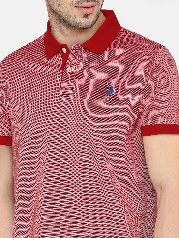 f57e3d6a9 Buy U.S. Polo Assn. Men Red Self Design Polo Collar T Shirt ...