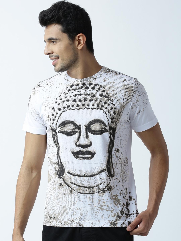facd7eaa5b6c8b Buy Huetrap Men White Buddha Print Round Neck T Shirt - Tshirts for ...