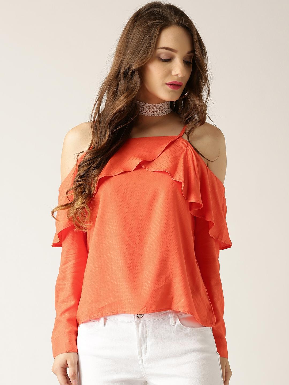 32c5559d725 Buy Marie Claire Women Orange Self Design Cold Shoulder Top - Tops ...