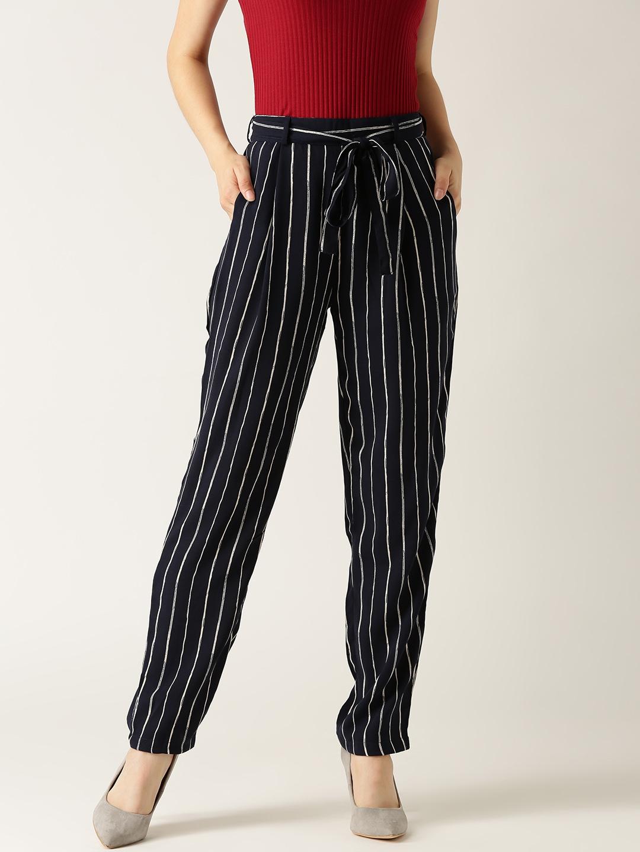 208e68fa6868 Marie Claire Women Navy   White Original Fit Striped Peg Trousers
