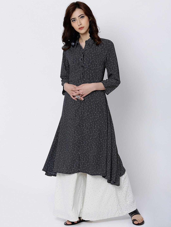 26119641ca0 Buy Vishudh Women Black   White Printed Anarkali Kurta - Kurtas for ...