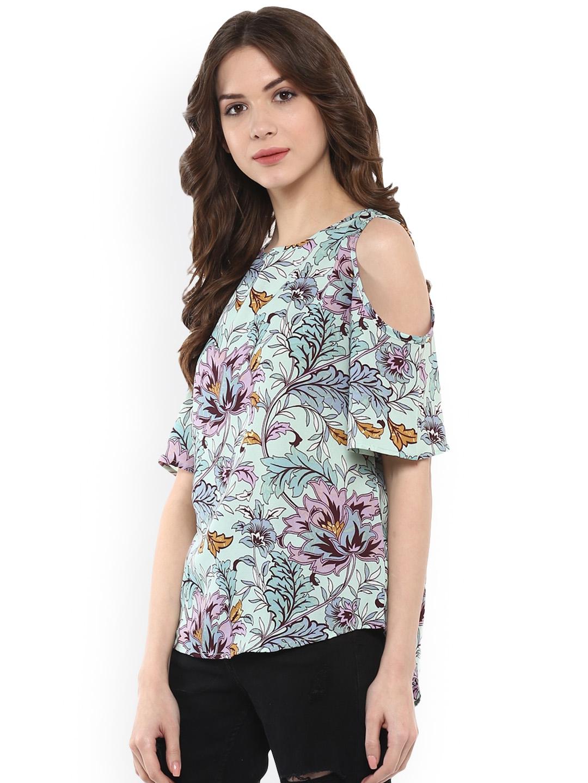 613dca042178c5 Buy Harpa Women Green Printed Cold Shoulder Top - Tops for Women ...