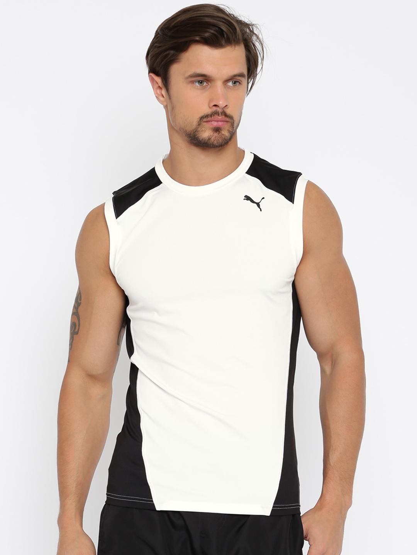 plus récent eb4b2 4e805 PUMA Men White & Black Colourblocked Cross The Line Sleeveless T-shirt